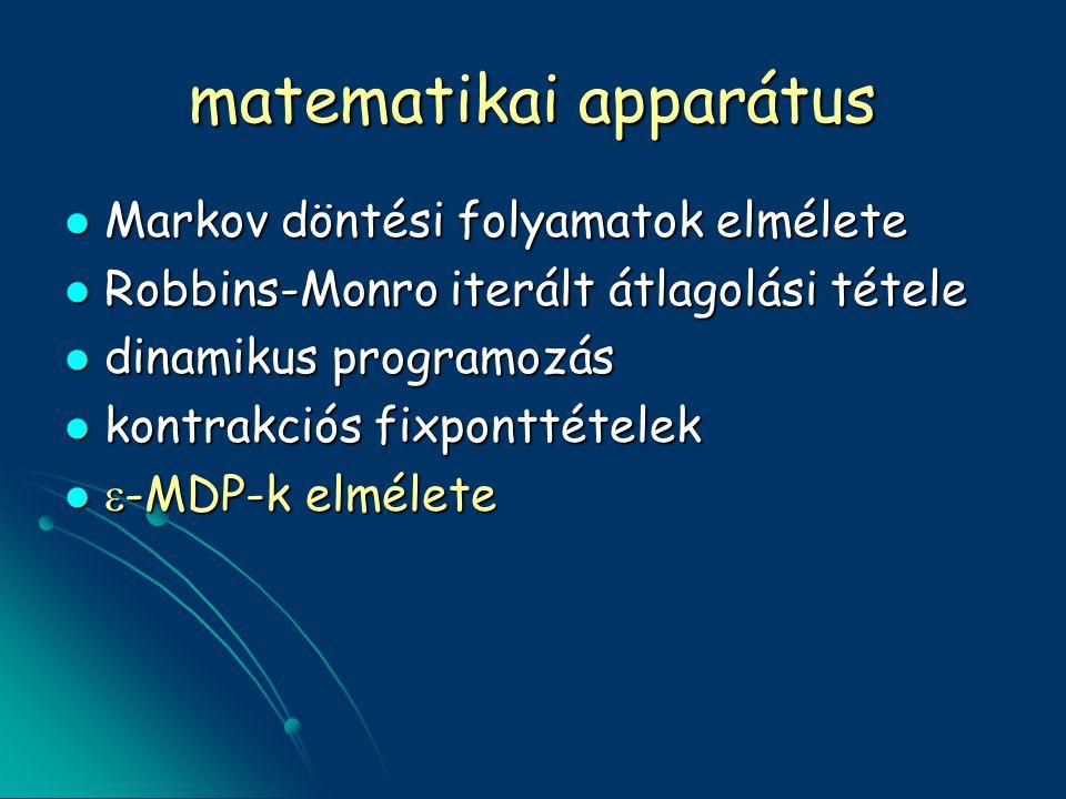 matematikai apparátus Markov döntési folyamatok elmélete Markov döntési folyamatok elmélete Robbins-Monro iterált átlagolási tétele Robbins-Monro iterált átlagolási tétele dinamikus programozás dinamikus programozás kontrakciós fixponttételek kontrakciós fixponttételek  -MDP-k elmélete  -MDP-k elmélete