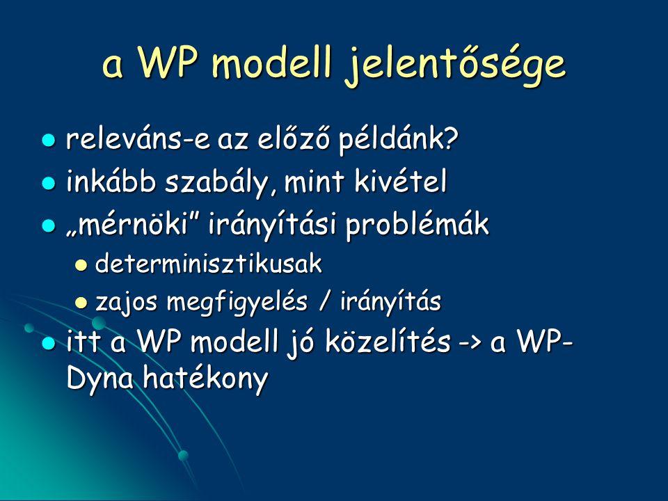 a WP modell jelentősége releváns-e az előző példánk.