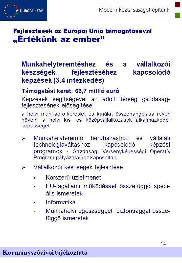 """14 Kormányszóvivői tájékoztató Fejlesztések az Európai Unió támogatásával """"Értékünk az ember Munkahelyteremtéshez és a vállalkozói készségek fejlesztéséhez kapcsolódó képzések (3.4 intézkedés) Támogatási keret: 66,7 millió euró Képzések segítségével az adott térség gazdaság- fejlesztésének elősegítése a helyi munkaerő-kereslet és kínálat összehangolása révén növelni a helyi kis- és középvállalkozások alkalmazkodó- képességét  Munkahelyteremtő beruházáshoz és vállalati technológiaváltáshoz kapcsolódó képzési programok - Gazdasági Versenyképességi Operatív Program pályázataihoz kapcsoltan  Vállalkozói készségek fejlesztése Korszerű üzletmenet EU-tagállami működéssel összefüggő speci- ális ismeretek Informatika Munkahelyi egészséggel, biztonsággal össze- függő ismeretek"""