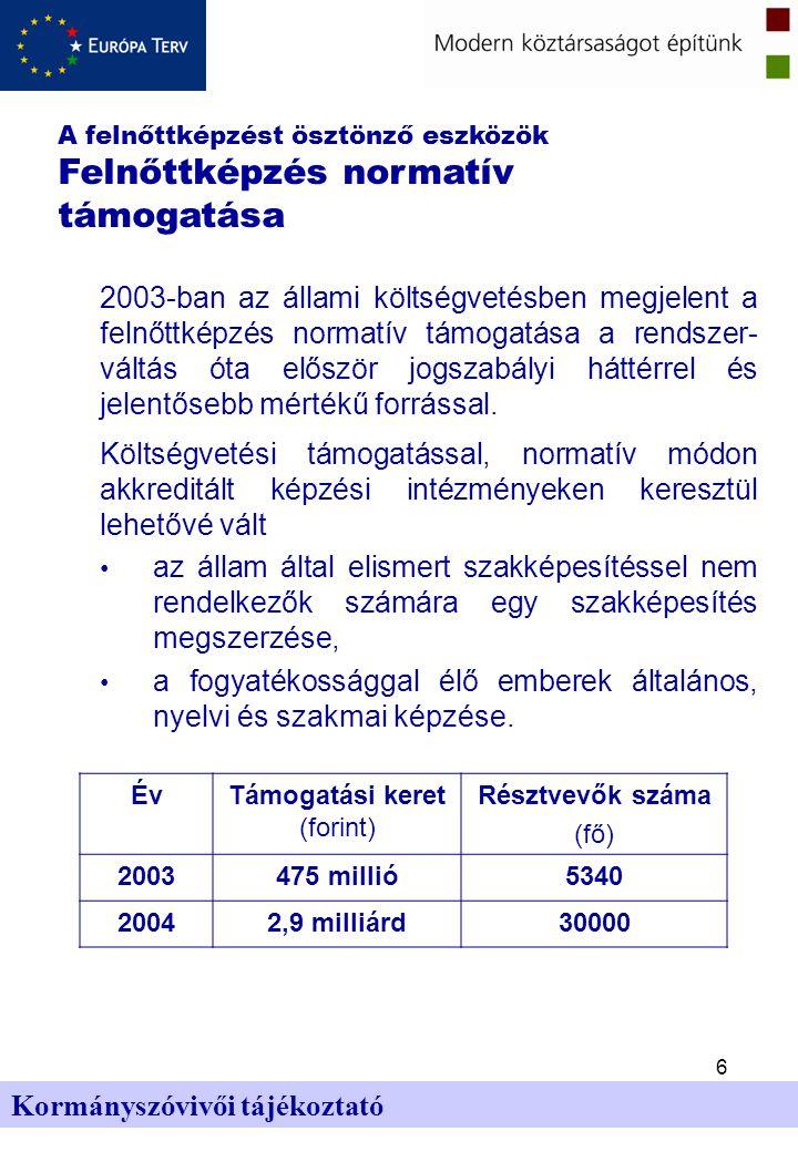 6 Kormányszóvivői tájékoztató 2003-ban az állami költségvetésben megjelent a felnőttképzés normatív támogatása a rendszer- váltás óta először jogszabályi háttérrel és jelentősebb mértékű forrással.