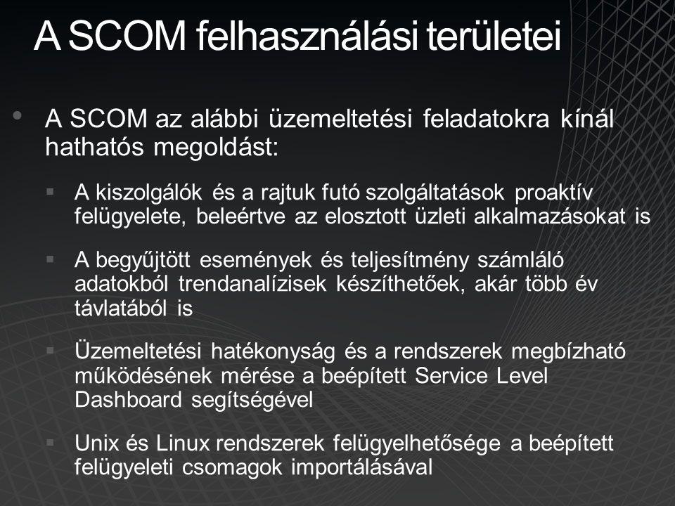 A SCOM az alábbi üzemeltetési feladatokra kínál hathatós megoldást:  A kiszolgálók és a rajtuk futó szolgáltatások proaktív felügyelete, beleértve az