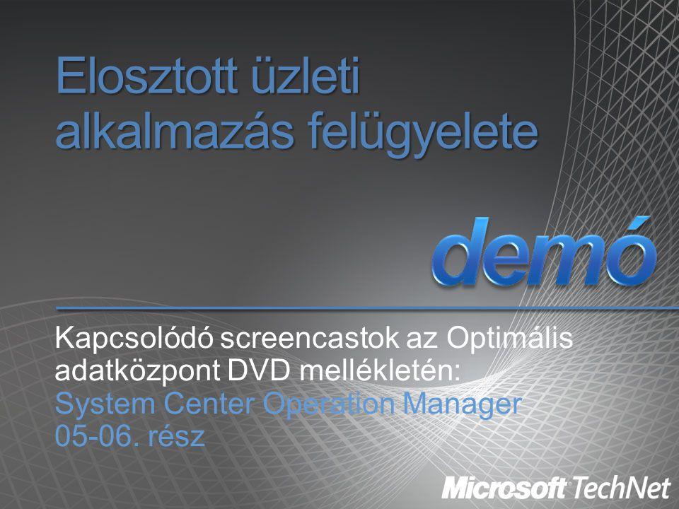 Elosztott üzleti alkalmazás felügyelete Kapcsolódó screencastok az Optimális adatközpont DVD mellékletén: System Center Operation Manager 05-06. rész