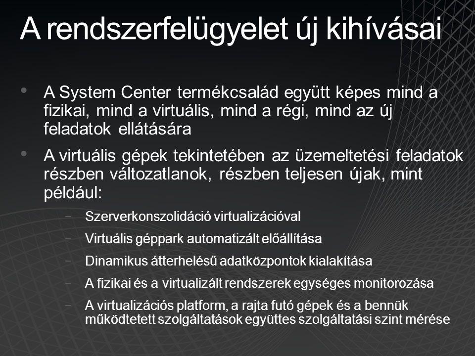 A rendszerfelügyelet új kihívásai A System Center termékcsalád együtt képes mind a fizikai, mind a virtuális, mind a régi, mind az új feladatok ellátá