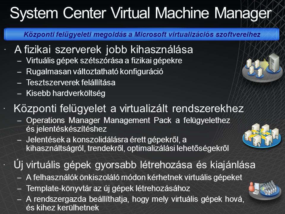  A fizikai szerverek jobb kihasználása Központi felügyeleti megoldás a Microsoft virtualizációs szoftvereihez VM VMVM System Center Virtual Machine M