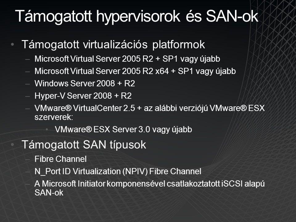 Támogatott hypervisorok és SAN-ok Támogatott virtualizációs platformok –Microsoft Virtual Server 2005 R2 + SP1 vagy újabb –Microsoft Virtual Server 20