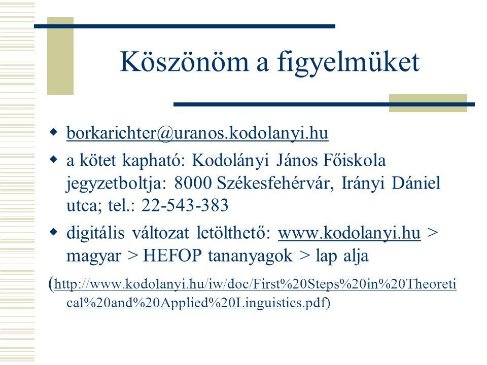 Köszönöm a figyelmüket  borkarichter@uranos.kodolanyi.hu borkarichter@uranos.kodolanyi.hu  a kötet kapható: Kodolányi János Főiskola jegyzetboltja: