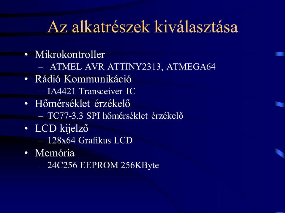 Az alkatrészek kiválasztása Mikrokontroller – ATMEL AVR ATTINY2313, ATMEGA64 Rádió Kommunikáció –IA4421 Transceiver IC Hőmérséklet érzékelő –TC77-3.3