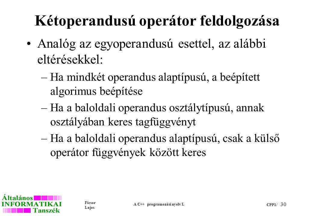 Ficsor Lajos A C++ programozási nyelv I.