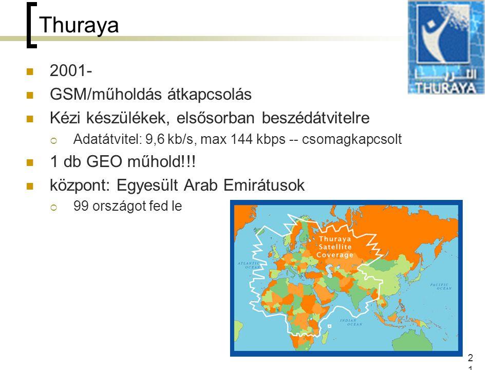 21 Thuraya 2001- GSM/műholdás átkapcsolás Kézi készülékek, elsősorban beszédátvitelre  Adatátvitel: 9,6 kb/s, max 144 kbps -- csomagkapcsolt 1 db GEO műhold!!.