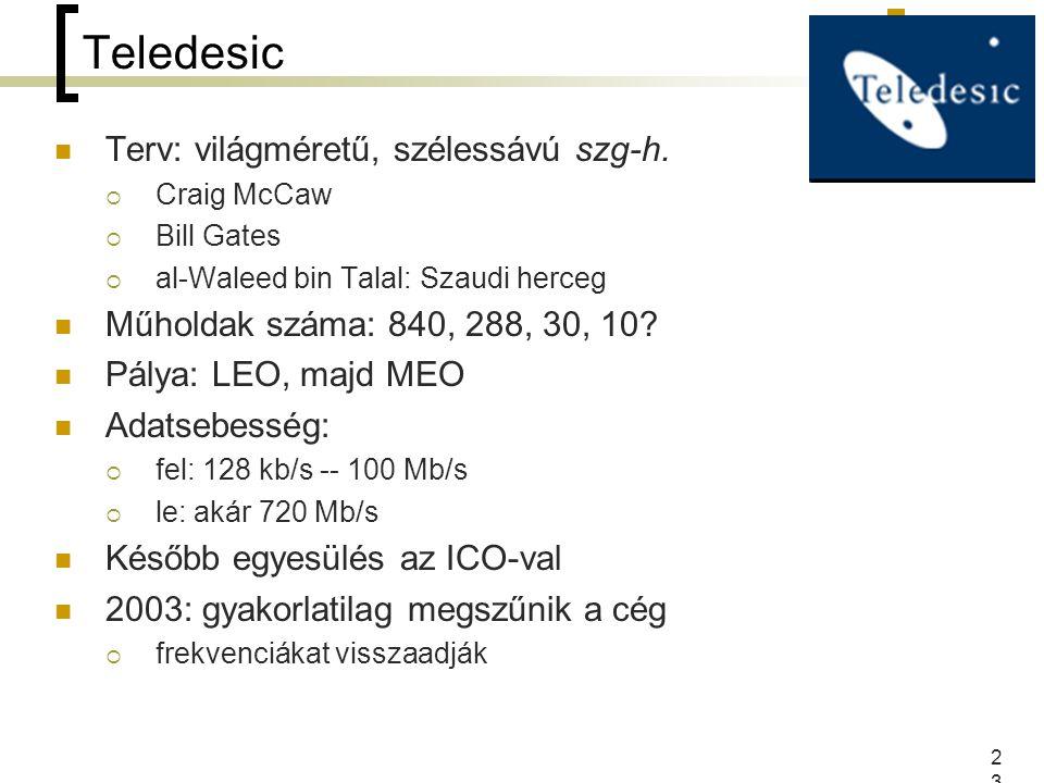 23 Teledesic Terv: világméretű, szélessávú szg-h.