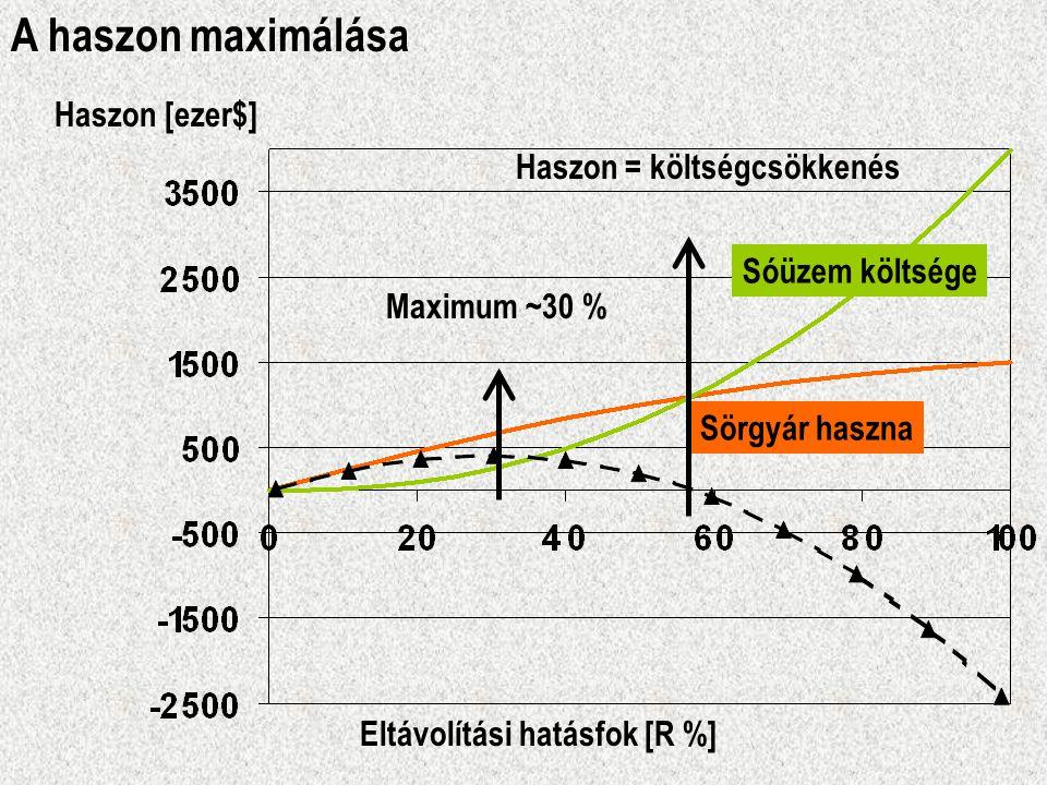 A haszon maximálása Sóüzem költsége Sörgyár haszna Haszon = költségcsökkenés Haszon [ezer$] Eltávolítási hatásfok [R %] Maximum ~30 %