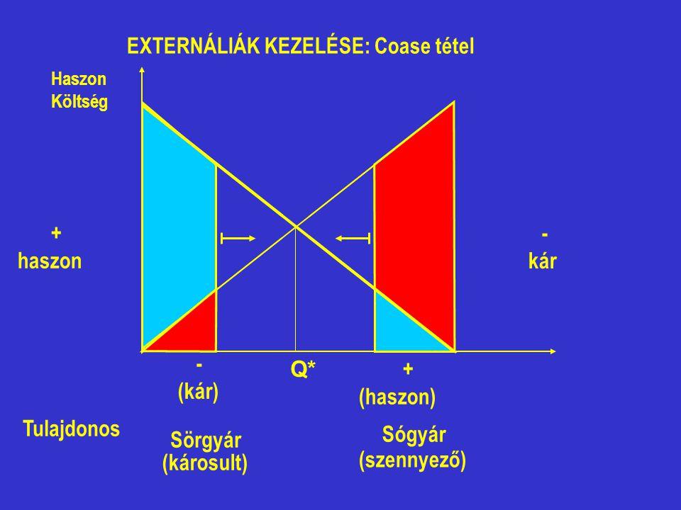 Sörgyár (károsult) Sógyár (szennyező) Tulajdonos EXTERNÁLIÁK KEZELÉSE: Coase tétel + haszon - (kár) - kár + (haszon) Q* Haszon Költség