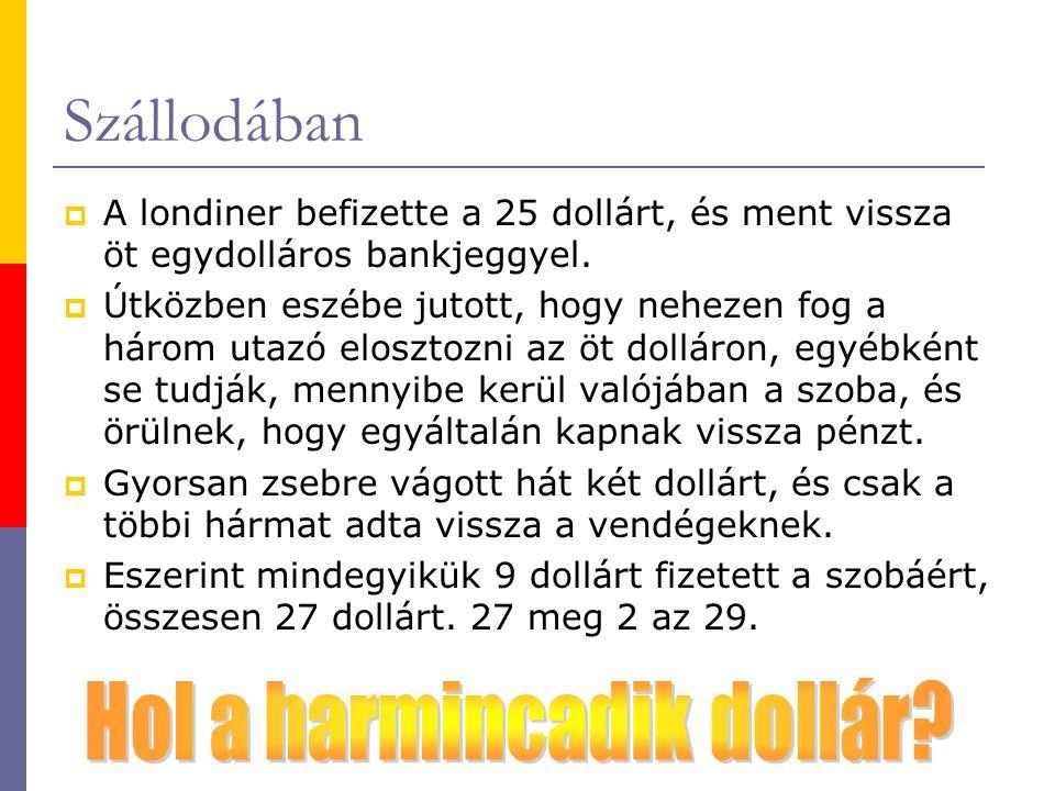 Szállodában  A londiner befizette a 25 dollárt, és ment vissza öt egydolláros bankjeggyel.  Útközben eszébe jutott, hogy nehezen fog a három utazó e