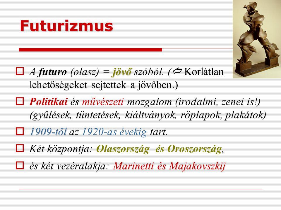 Futurizmus jövő  A futuro (olasz) = jövő szóból. (  Korlátlan lehetőségeket sejtettek a jövőben.)  Politikai és művészeti mozgalom (irodalmi, zenei