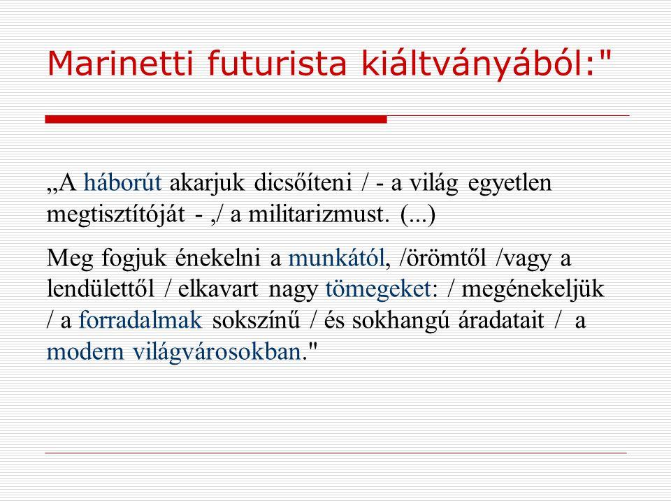 Marinetti futurista kiáltványából: