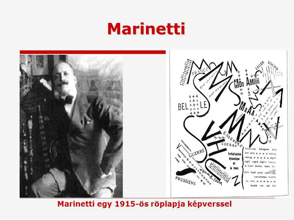 Marinetti Marinetti egy 1915-ös röplapja képverssel