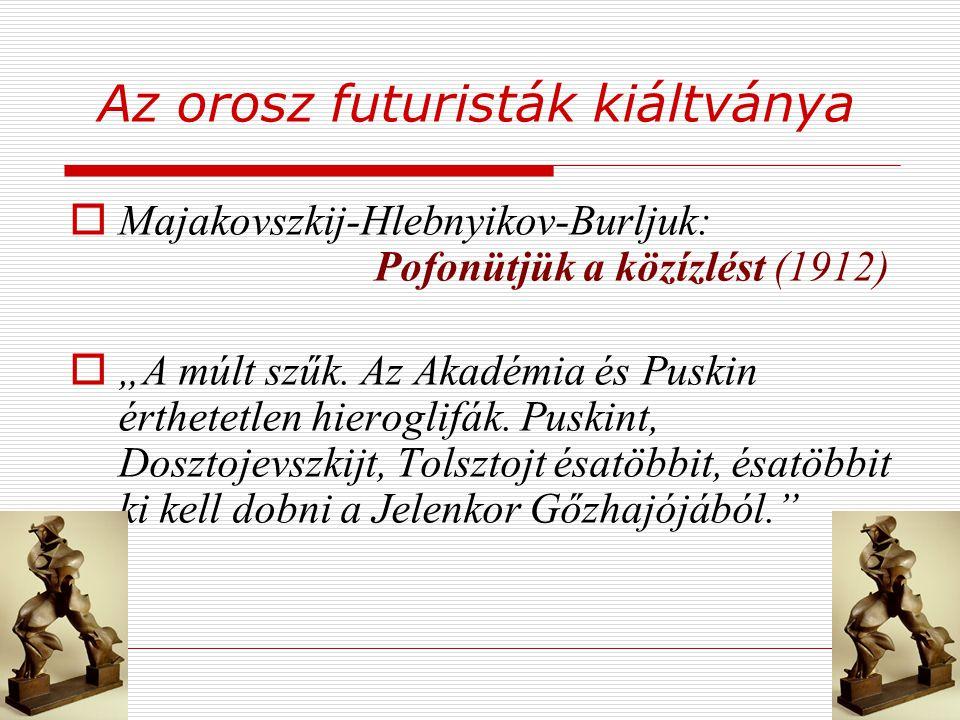 """Az orosz futuristák kiáltványa  Majakovszkij-Hlebnyikov-Burljuk: Pofonütjük a közízlést (1912)  """"A múlt szűk. Az Akadémia és Puskin érthetetlen hier"""