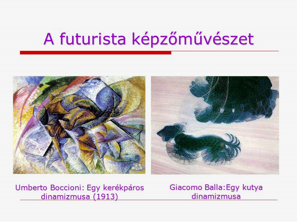 A futurista képzőművészet Umberto Boccioni: Egy kerékpáros dinamizmusa (1913) Giacomo Balla:Egy kutya dinamizmusa