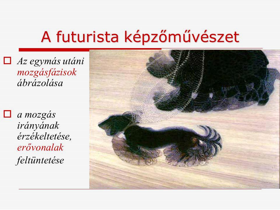 A futurista képzőművészet  Az egymás utáni mozgásfázisok ábrázolása  a mozgás irányának érzékeltetése, erővonalak feltüntetése