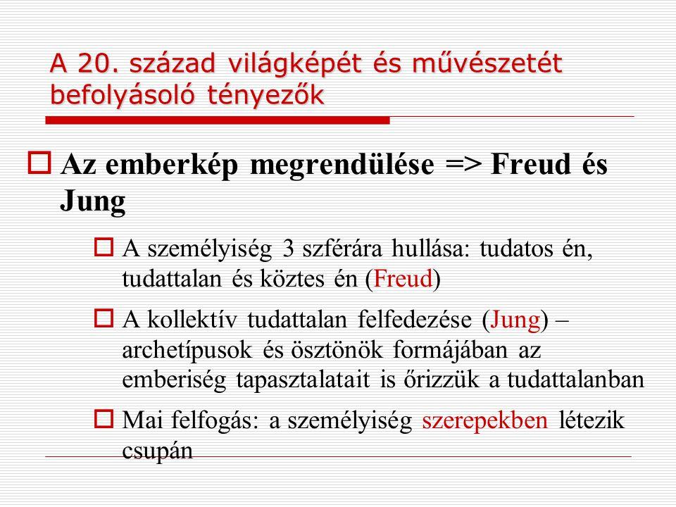 A 20. század világképét és művészetét befolyásoló tényezők  Az emberkép megrendülése => Freud és Jung  A személyiség 3 szférára hullása: tudatos én,