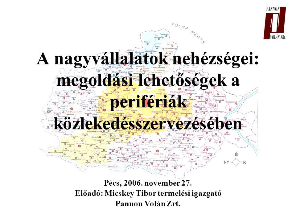 Pécs, 2006. november 27. Előadó: Micskey Tibor termelési igazgató Pannon Volán Zrt.