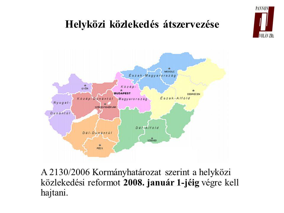 Helyközi közlekedés átszervezése A 2130/2006 Kormányhatározat szerint a helyközi közlekedési reformot 2008.