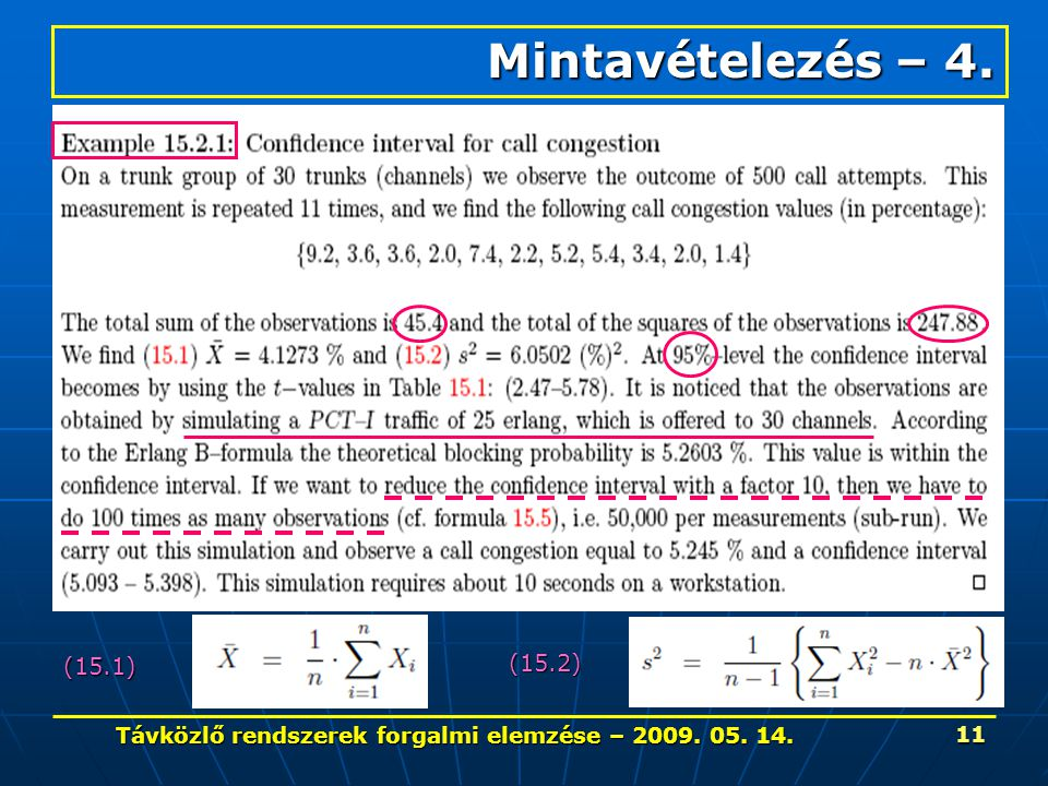 Távközlő rendszerek forgalmi elemzése – 2009. 05. 14. 11 Mintavételezés – 4. (15.1) (15.2)