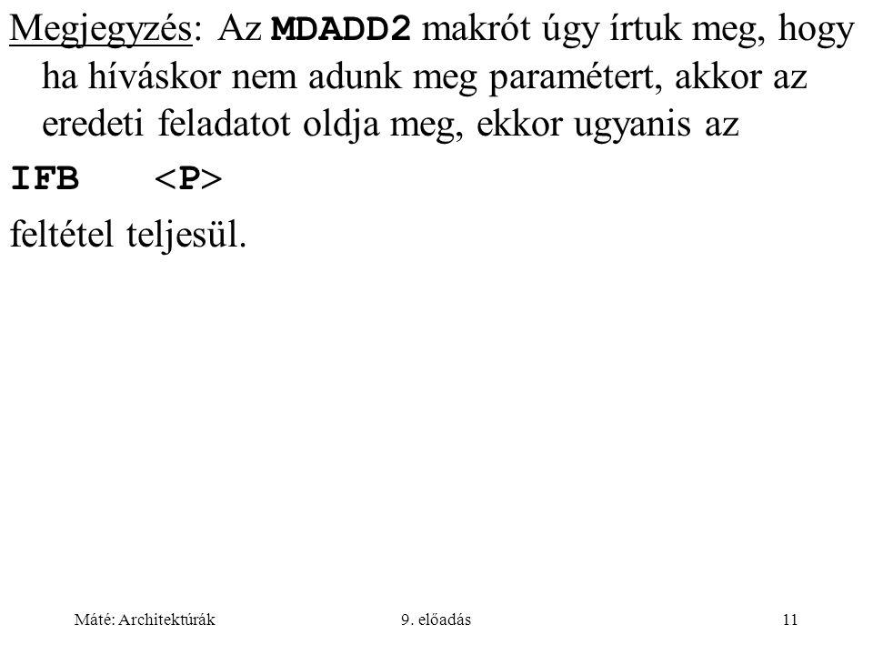 Máté: Architektúrák9. előadás11 Megjegyzés: Az MDADD2 makrót úgy írtuk meg, hogy ha híváskor nem adunk meg paramétert, akkor az eredeti feladatot oldj