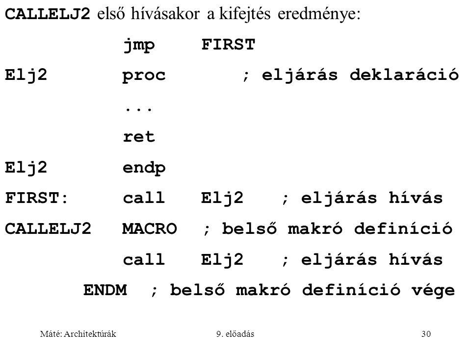 Máté: Architektúrák9. előadás30 CALLELJ2 első hívásakor a kifejtés eredménye: jmpFIRST Elj2proc; eljárás deklaráció... ret Elj2endp FIRST:callElj2; el