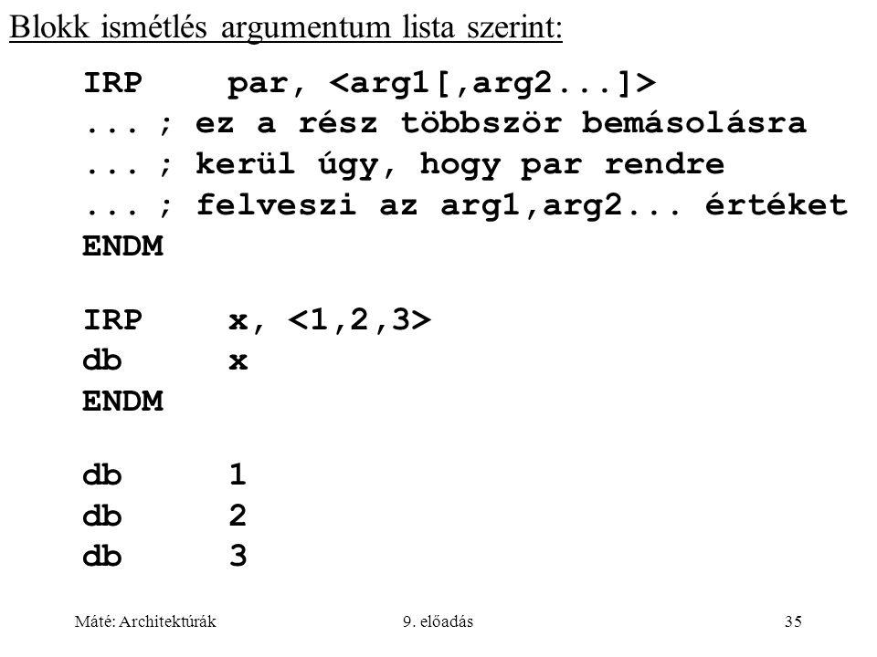 Máté: Architektúrák9. előadás35 Blokk ismétlés argumentum lista szerint: IRPpar,...; ez a rész többször bemásolásra...; kerül úgy, hogy par rendre...;