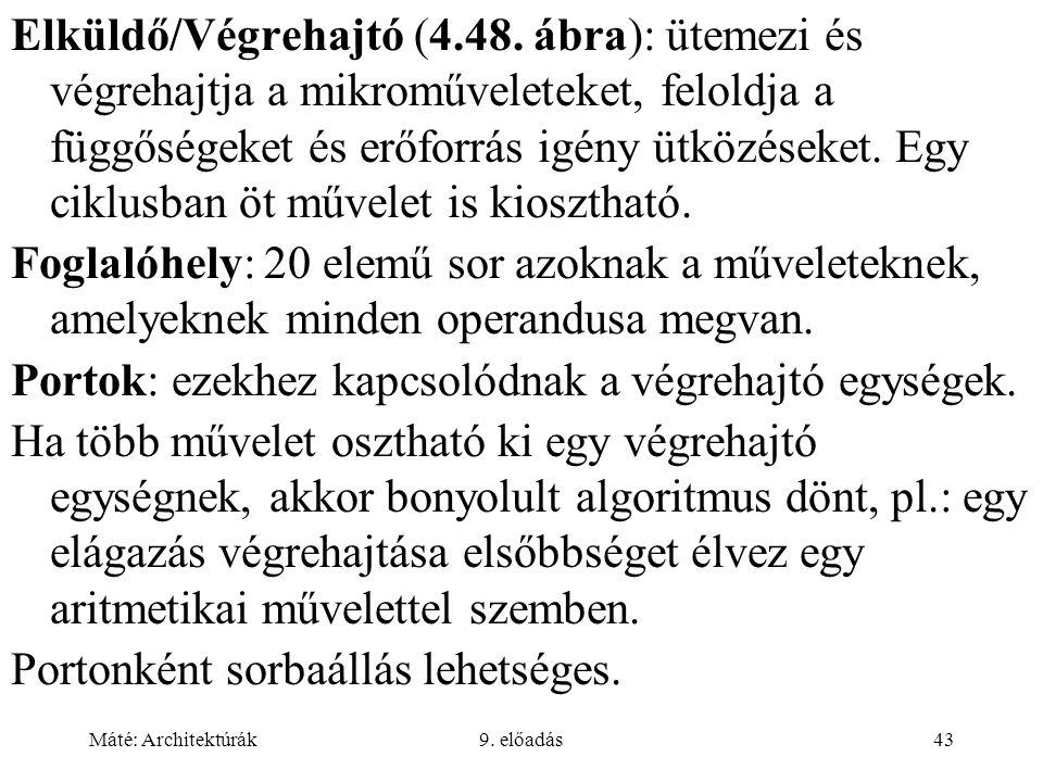 Máté: Architektúrák9.előadás43 Elküldő/Végrehajtó (4.48.