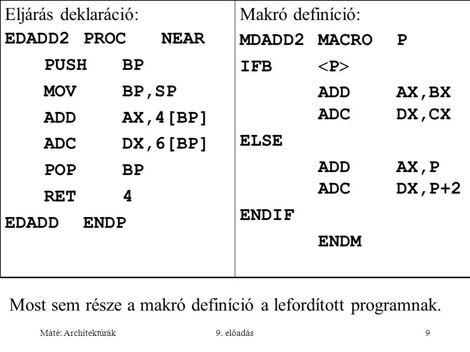 Máté: Architektúrák9. előadás9 Most sem része a makró definíció a lefordított programnak. Eljárás deklaráció: EDADD2PROCNEAR PUSHBP MOVBP,SP ADDAX,4[B