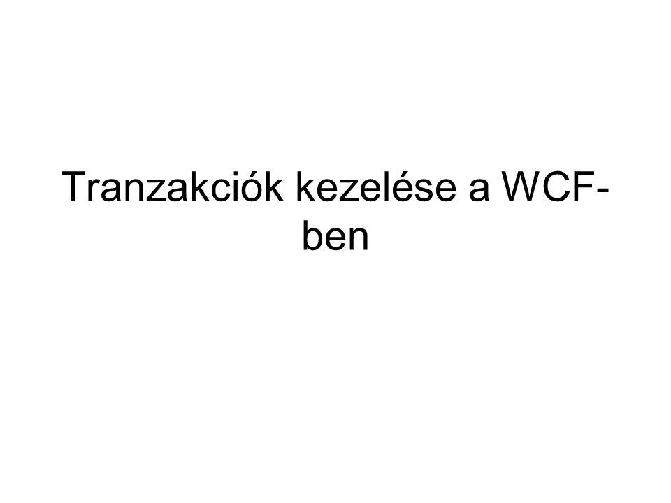 Tranzakciók kezelése a WCF- ben