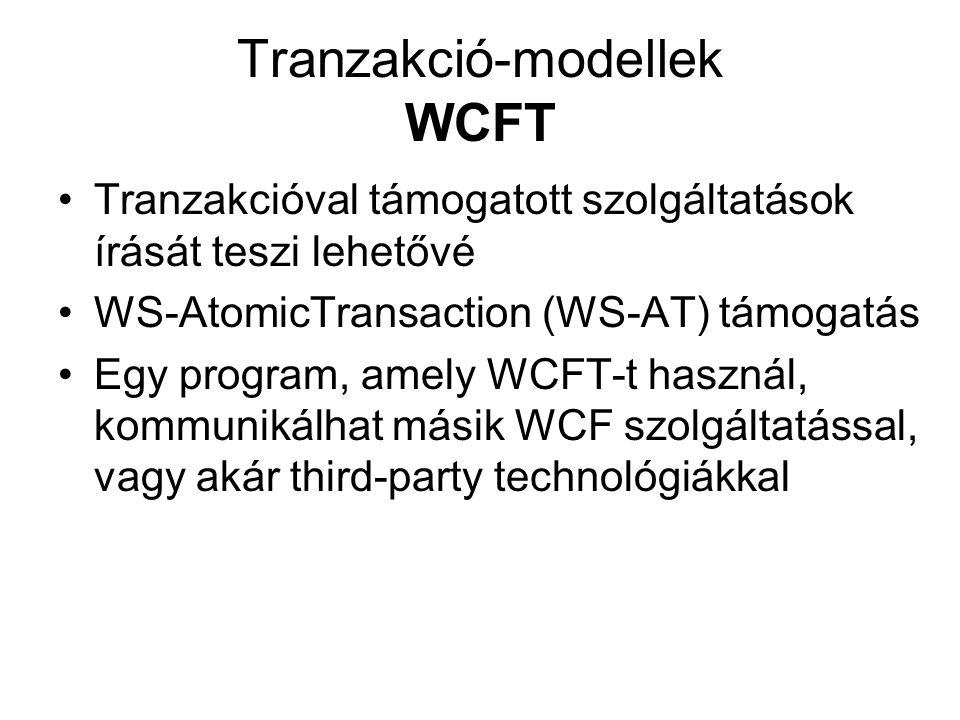 Tranzakció-modellek WCFT Tranzakcióval támogatott szolgáltatások írását teszi lehetővé WS-AtomicTransaction (WS-AT) támogatás Egy program, amely WCFT-t használ, kommunikálhat másik WCF szolgáltatással, vagy akár third-party technológiákkal