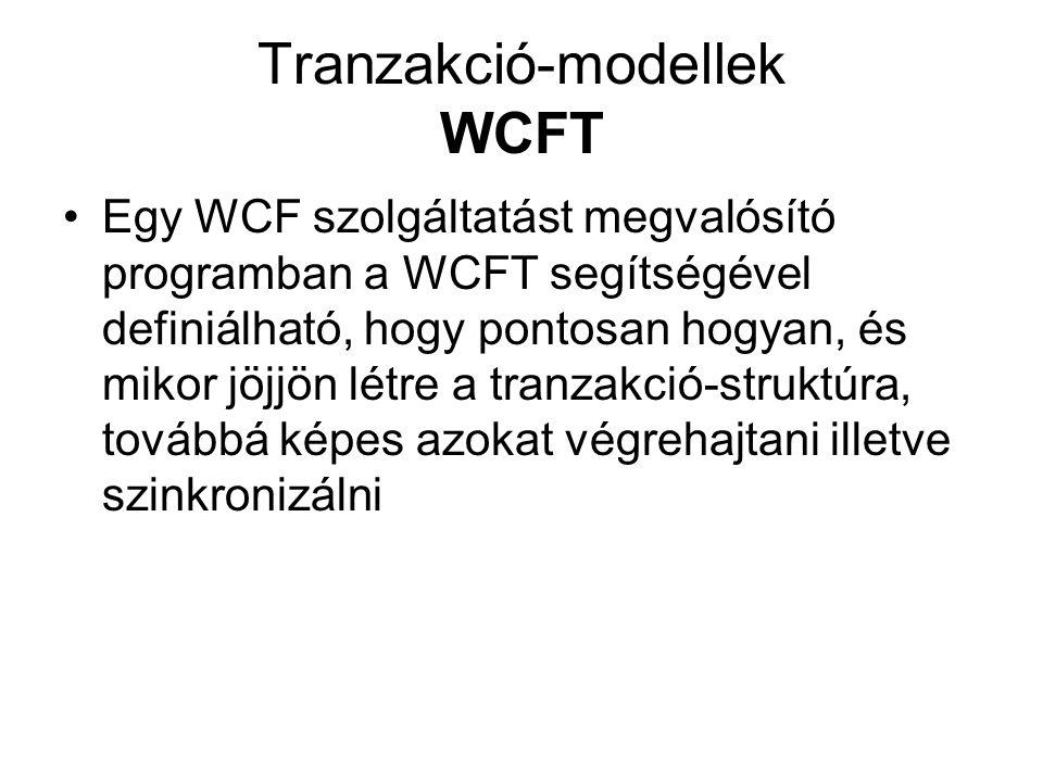 Tranzakció-modellek WCFT Egy WCF szolgáltatást megvalósító programban a WCFT segítségével definiálható, hogy pontosan hogyan, és mikor jöjjön létre a tranzakció-struktúra, továbbá képes azokat végrehajtani illetve szinkronizálni