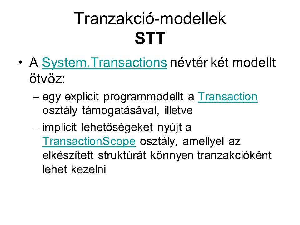 Tranzakció-modellek STT A System.Transactions névtér két modellt ötvöz:System.Transactions –egy explicit programmodellt a Transaction osztály támogatásával, illetveTransaction –implicit lehetőségeket nyújt a TransactionScope osztály, amellyel az elkészített struktúrát könnyen tranzakcióként lehet kezelni TransactionScope