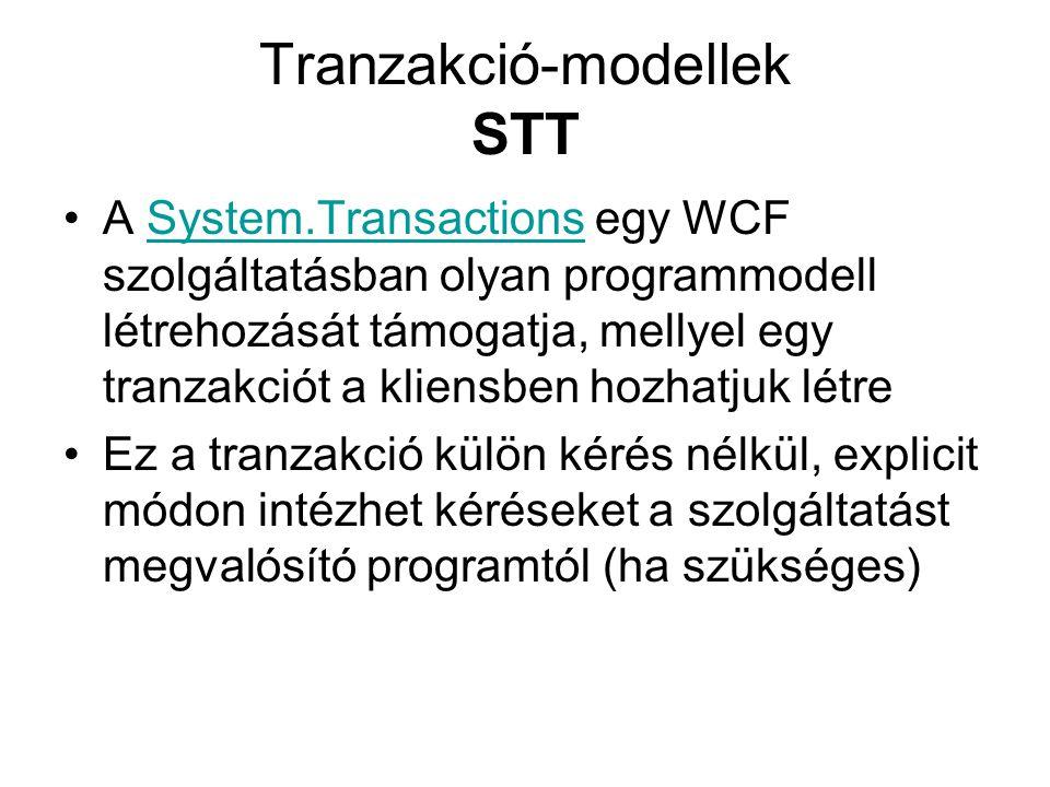 Tranzakció-modellek STT A System.Transactions egy WCF szolgáltatásban olyan programmodell létrehozását támogatja, mellyel egy tranzakciót a kliensben hozhatjuk létreSystem.Transactions Ez a tranzakció külön kérés nélkül, explicit módon intézhet kéréseket a szolgáltatást megvalósító programtól (ha szükséges)