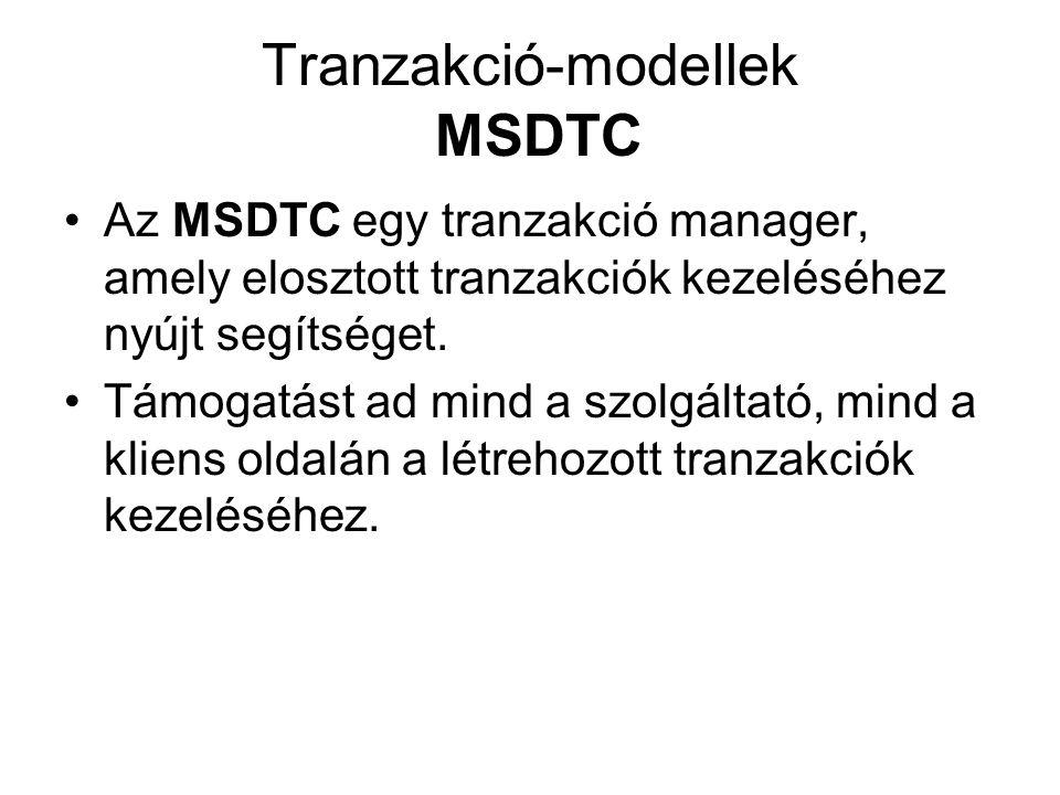 Tranzakció-modellek MSDTC Az MSDTC egy tranzakció manager, amely elosztott tranzakciók kezeléséhez nyújt segítséget. Támogatást ad mind a szolgáltató,