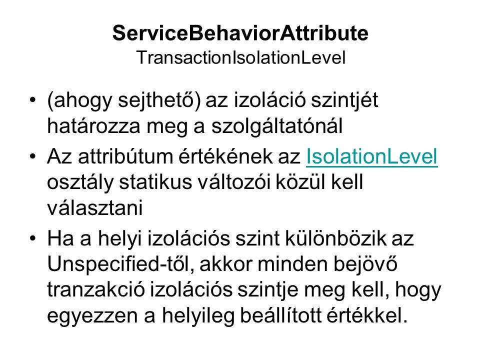 ServiceBehaviorAttribute TransactionIsolationLevel (ahogy sejthető) az izoláció szintjét határozza meg a szolgáltatónál Az attribútum értékének az Iso