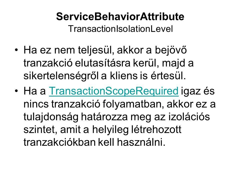 ServiceBehaviorAttribute TransactionIsolationLevel Ha ez nem teljesül, akkor a bejövő tranzakció elutasításra kerül, majd a sikertelenségről a kliens is értesül.