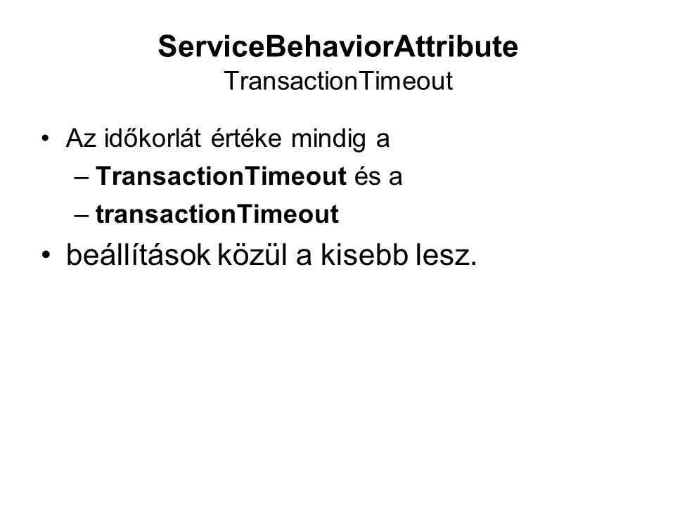 ServiceBehaviorAttribute TransactionTimeout Az időkorlát értéke mindig a –TransactionTimeout és a –transactionTimeout beállítások közül a kisebb lesz.