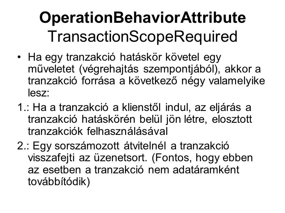 OperationBehaviorAttribute TransactionScopeRequired Ha egy tranzakció hatáskör követel egy műveletet (végrehajtás szempontjából), akkor a tranzakció forrása a következő négy valamelyike lesz: 1.: Ha a tranzakció a klienstől indul, az eljárás a tranzakció hatáskörén belül jön létre, elosztott tranzakciók felhasználásával 2.: Egy sorszámozott átvitelnél a tranzakció visszafejti az üzenetsort.