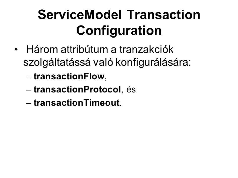 ServiceModel Transaction Configuration Három attribútum a tranzakciók szolgáltatássá való konfigurálására: –transactionFlow, –transactionProtocol, és –transactionTimeout.