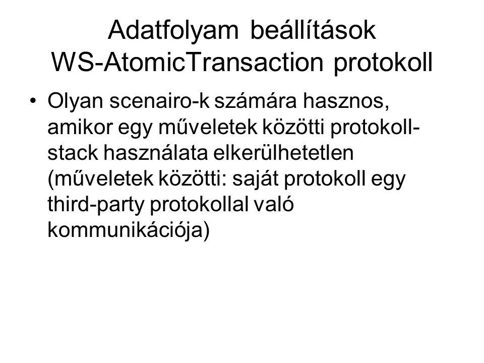 Adatfolyam beállítások WS-AtomicTransaction protokoll Olyan scenairo-k számára hasznos, amikor egy műveletek közötti protokoll- stack használata elkerülhetetlen (műveletek közötti: saját protokoll egy third-party protokollal való kommunikációja)