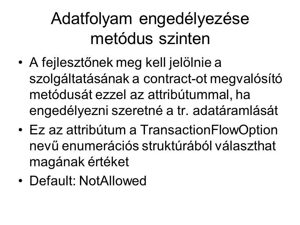 Adatfolyam engedélyezése metódus szinten A fejlesztőnek meg kell jelölnie a szolgáltatásának a contract-ot megvalósító metódusát ezzel az attribútumma