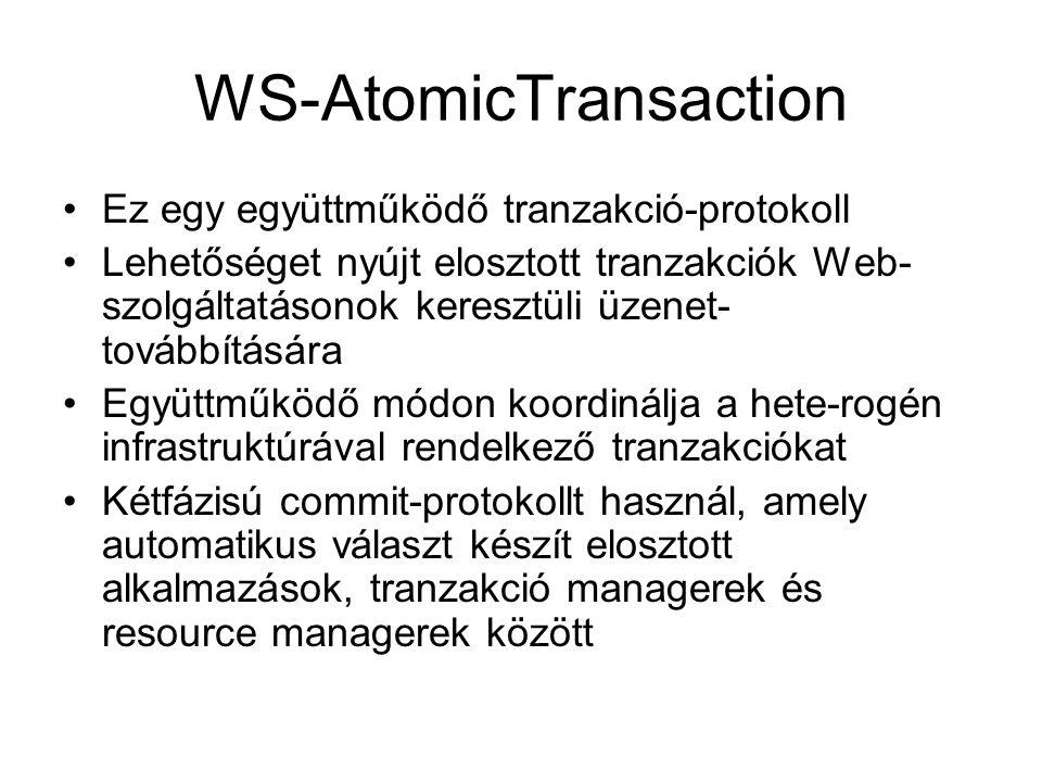 WS-AtomicTransaction Ez egy együttműködő tranzakció-protokoll Lehetőséget nyújt elosztott tranzakciók Web- szolgáltatásonok keresztüli üzenet- továbbítására Együttműködő módon koordinálja a hete-rogén infrastruktúrával rendelkező tranzakciókat Kétfázisú commit-protokollt használ, amely automatikus választ készít elosztott alkalmazások, tranzakció managerek és resource managerek között