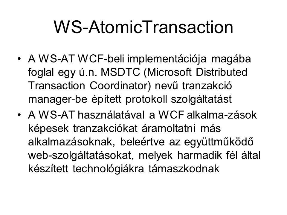 WS-AtomicTransaction A WS-AT WCF-beli implementációja magába foglal egy ú.n. MSDTC (Microsoft Distributed Transaction Coordinator) nevű tranzakció man