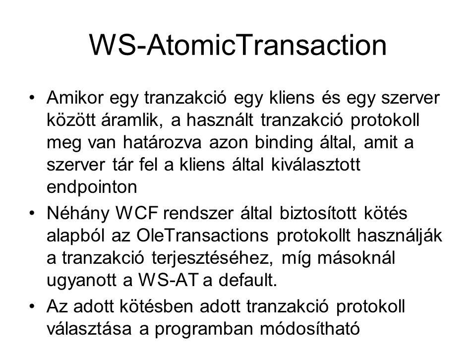 WS-AtomicTransaction Amikor egy tranzakció egy kliens és egy szerver között áramlik, a használt tranzakció protokoll meg van határozva azon binding által, amit a szerver tár fel a kliens által kiválasztott endpointon Néhány WCF rendszer által biztosított kötés alapból az OleTransactions protokollt használják a tranzakció terjesztéséhez, míg másoknál ugyanott a WS-AT a default.