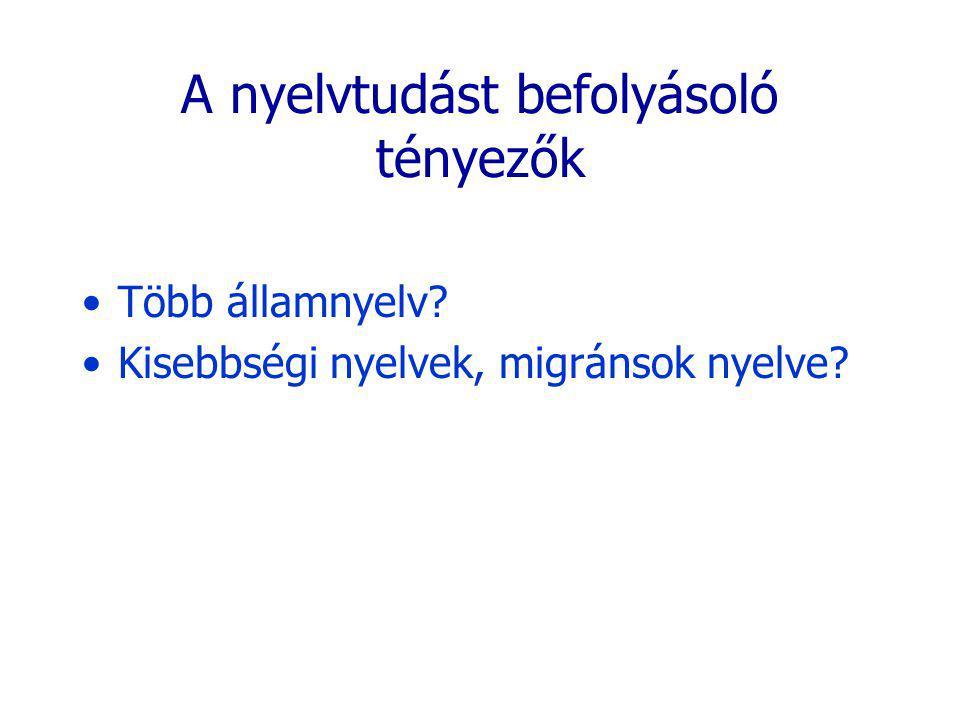 A nyelvtudást befolyásoló tényezők Több államnyelv? Kisebbségi nyelvek, migránsok nyelve?