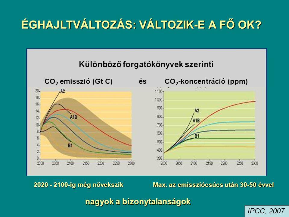 ÉGHAJLTVÁLTOZÁS: VÁLTOZIK-E A FŐ OK? Különböző forgatókönyvek szerinti CO 2 emisszió (Gt C) és CO 2 -koncentráció (ppm) 2020 - 2100-ig még növekszik M